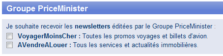 Opt-in Newsletters Groupe PriceMinister