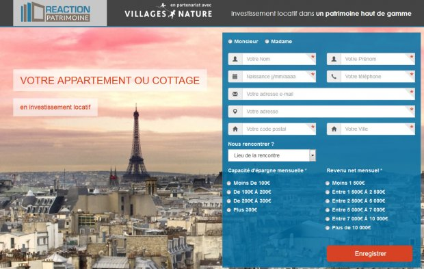 Capture d'écran de la page de destination du spam immobilier-locatif-reaction-patrimoine.com