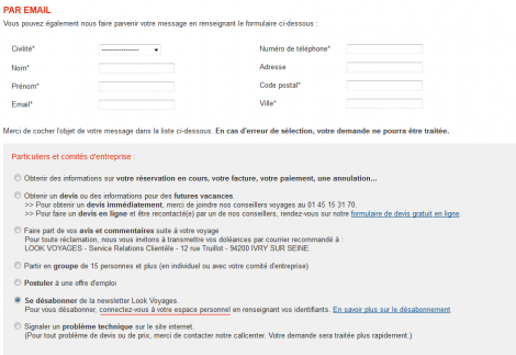 Page de contact du site Look Voyages