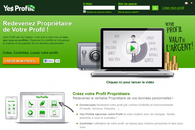 Page d'accueil du site Yes Profile