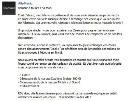 Annonce loterie Allomusic sur Facebook