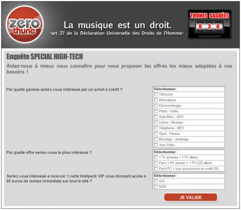 Exemple de formulaire ZeroThune - Copyright Urban Musique, WellPack, West Interactive