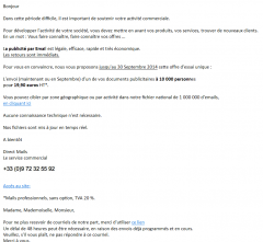 Spam Lettre d'information Septembre 2014 de Direct Mails